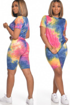 Blue Polyester Fashion Street Print Tie Dye Two Piece Suits Straight Short Sleeve Two Pieces