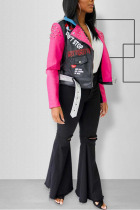 Pink Turndown Collar contrast color Fluorescent PU Long Sleeve Outerwear