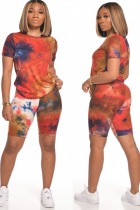 Red Polyester Fashion Street Print Tie Dye Two Piece Suits Straight Short Sleeve Two Pieces
