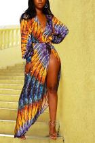 purple Sexy & Club V-Neck Long Sleeve Loose Long Print Dresses