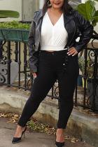 Black Turndown Collar Solid tassel PU Pure Long Sleeve Outerwear