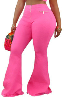 Pink Polyester Zipper Fly Low Solid Zippered Loose Pants Bottoms