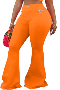 Orange Polyester Zipper Fly Low Solid Zippered Loose Pants Bottoms