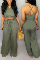 Army Green Polyester Street Solid Loose Short Sleeve Two Pieces