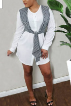 White Polyester Fashion Sexy adult Ma'am Shirt sleeves Long Sleeves O neck A-Line Knee-Length Striped Patchwork Dresses