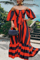 Red Bohemian Ruffled Sleeve Short Sleeves One word collar Swagger Floor-Length Striped Print ruffle Dresses