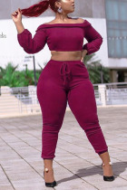purple Polyester Casual Solid Straight Long Sleeve Two Pieces