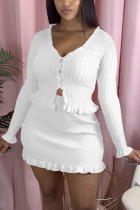 White Polyester Fashion Casual adult Ma'am Solid Two Piece Suits A-line skirt Long Sleeve Two Pieces