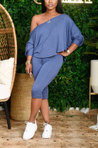 Blue Cotton Sexy Solid pencil Long Sleeve Two Pieces