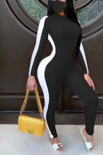 Black Light Polyester Long Sleeve O Neck Jumpsuits