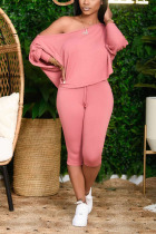 Pink Cotton Sexy Solid pencil Long Sleeve Two Pieces