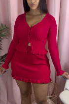 Red Polyester Fashion Casual adult Ma'am Solid Two Piece Suits A-line skirt Long Sleeve Two Pieces