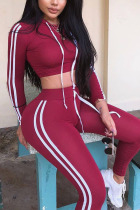 Wine Red Polyester Fashion Active Casual Solid backless contrast color pencil Long Sleeve Two Pieces