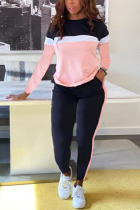 Pink venetian Active Casual Striped Patchwork Print contrast color pencil Long Sleeve Two Pieces