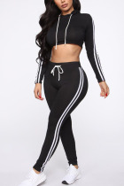 Black Polyester Fashion Active Casual Solid backless contrast color pencil Long Sleeve Two Pieces