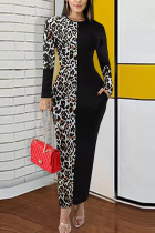Coffee Polyester Street Long Sleeves O neck Pencil Dress Ankle-Length Leopard Colouring Dresses