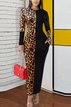 Yellow Polyester Street Long Sleeves O neck Pencil Dress Ankle-Length Leopard Colouring Dresses