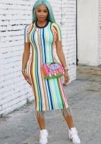 As Show-1 Casual O-Neck Short Sleeve Step skirt Midi Print Dresses