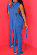 Peacock blue Polyester Sexy HOLLOWED OUT pencil Sleeveless Two Pieces