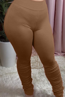 Brown Polyester Elastic Fly Mid Solid Boot Cut Pants Bottoms
