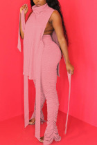 Pink Polyester Sexy HOLLOWED OUT pencil Sleeveless Two Pieces