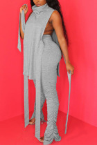 Grey Polyester Sexy HOLLOWED OUT pencil Sleeveless Two Pieces