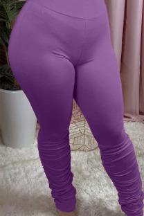 purple Polyester Elastic Fly Mid Solid Boot Cut Pants Bottoms
