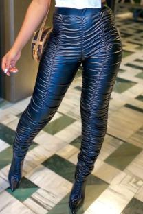 Black PU Elastic Fly Mid Solid Draped pencil Pants Bottoms