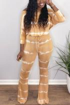 Khaki Casual street Print Striped bandage Milk. Long Sleeve one word collar Jumpsuits