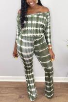 Black Green Casual street Print Striped bandage Milk. Long Sleeve one word collar Jumpsuits