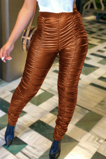 Brown PU Elastic Fly Mid Solid Draped pencil Pants Bottoms