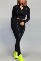 Black Fashion Casual Adult Polyester Solid Split Joint O Neck Long Sleeve Regular Sleeve Short Two Pieces
