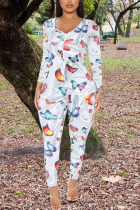 White Fashion Sexy Adult Polyester Print Butterfly Print V Neck Skinny Jumpsuits
