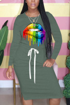 Dark green Fashion Casual Print Split Joint Draw String O Neck Printed Dresses