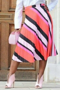 Pink Polyester Elastic Fly High camouflage Asymmetrical Draped Pleated skirt Capris  Skirts