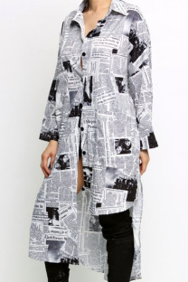 Black and white Casual Polyester Spandex Letter Patchwork Print Split Joint Buckle Basic Turn-back Collar Long Sleeve Knee Length Asymmetrical Dresses