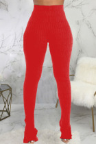 Red Fashion Casual Adult Pit Article Fabrics Solid Slit Skinny Bottoms