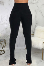 Black Fashion Casual Adult Pit Article Fabrics Solid Slit Skinny Bottoms