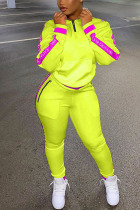 Fluorescent Yellow Fashion Casual Adult Polyester Letter Patchwork Split Joint Letter O Neck Long Sleeve Regular Sleeve Regular Two Pieces