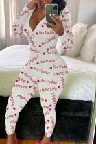 White Fashion Adult Living Polyester Print V Neck Skinny Jumpsuits