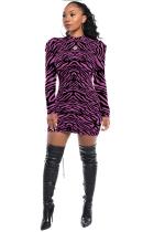 purple Sexy Cap Sleeve Long Sleeves Half High Collar Print Long Sleeve Dresses