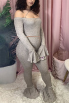 Grey Fashion Sexy Adult Polyester Patchwork Solid Split Joint Spaghetti Strap Long Sleeve Flare Sleeve Short Two Pieces