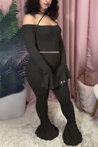 Black Fashion Sexy Adult Polyester Patchwork Solid Split Joint Spaghetti Strap Long Sleeve Flare Sleeve Short Two Pieces