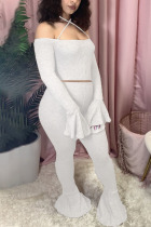 White Fashion Sexy Adult Polyester Patchwork Solid Split Joint Spaghetti Strap Long Sleeve Flare Sleeve Short Two Pieces