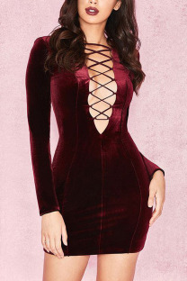 Wine Red Sexy Vintage Polyester Pleuche Tatting Solid Bandage Hollowed Out Cross Straps V Neck A Line Plus Size