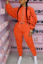 Orange Fashion Sexy Adult Solid Bandage O Neck Long Sleeve Regular Sleeve Regular Two Pieces