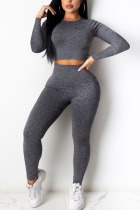 Grey Fashion Sexy Adult Polyester Solid Split Joint O Neck Long Sleeve Regular Sleeve Regular Two Pieces
