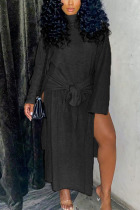 Black Fashion Casual Adult Polyester Solid High Opening O Neck Long Sleeve Ankle Length Long Sleeve Dress Dresses