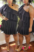Black Sexy Solid Fold One Shoulder Pleated Plus Size Dresses