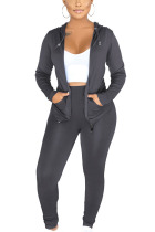 Grey Sexy Polyester Solid Split Joint Hooded Collar Long Sleeve Regular Sleeve Regular Two Pieces